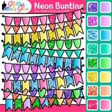 Neon Bunting Clipart: Rainbow Glitter Flags & Banners 2 {Glitter Meets Glue}
