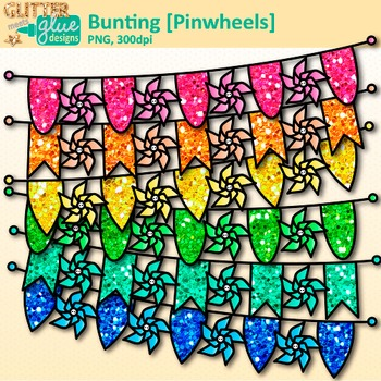 Pinwheel Bunting Clip Art | Rainbow Glitter Banners for Worksheets & Posters