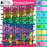 Pinwheel Bunting Clip Art: Rainbow Glitter Flags & Banners {Glitter Meets Glue}