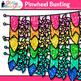 Pinwheel Bunting Clip Art {Rainbow Glitter Banners for Wor