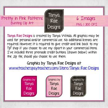 Bunting Clip Art {Pretty in Pink Patterns}