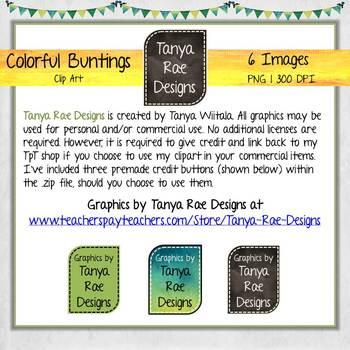 Bunting Clip Art {Set 1} by Tanya Rae Designs
