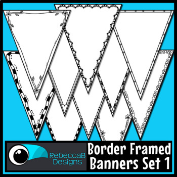 Bunting Clip Art: Single Point Pennant Borders Set 1