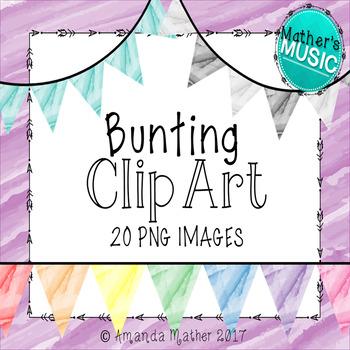 Bunting Clip Art - Watercolor