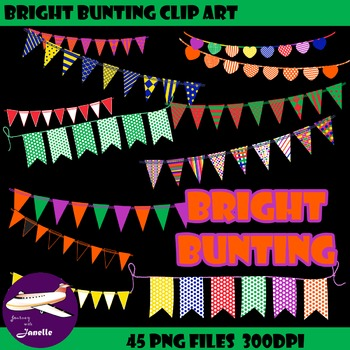 Bunting Clip Art in Bright Rainbow Colors, Bunting Flags Clipart.