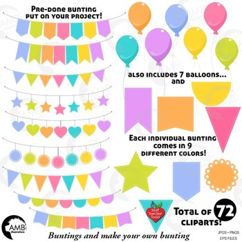 Bunting Clipart, 72 Bunting and balloons clipart {Best Teacher Tools} AMB-1939