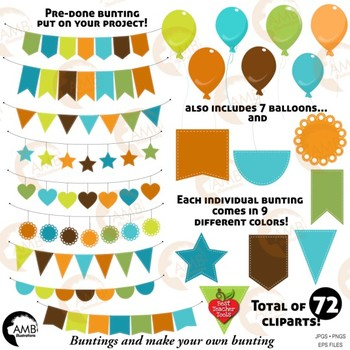 Bunting Clipart, 72 Bunting and Balloon Clipart DIY{Best Teacher Tools} AMB-1940