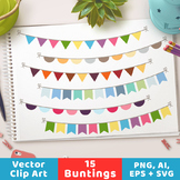 Bunting Clipart, Bunting Banner Graphics, Garland Clipart,