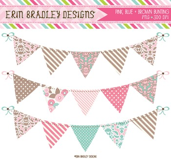 Bunting Clipart - Pink Blue & Brown