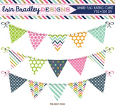 Bunting Clipart Pink Blue Green Orange Banner Flag Clip Art Digital Graphics