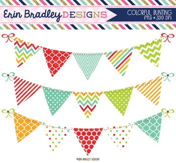 Bunting Clipart Red Green Orange Blue Banner Flag Clip Art Digital Graphics