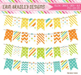 Bunting Clipart - Yellow Orange Green & Blue