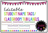 Bunting Dots Editable Name Tags/ Classroom Tub Labels