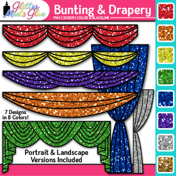 Drapery and Bunting Clip Art {Great for Graduation, Drama, & Reader's Theater}