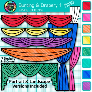 Bunting and Drapery Clip Art {Great for Graduation, Drama, & Reader's Theater} 1