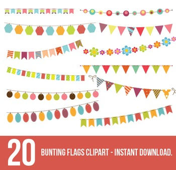 Bunting Flags Clipart,Bunting Clipart,Flag banner - Instant Download.