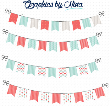 Bunting Flags  Mint and Coral Clipart