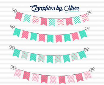 Bunting Flags  Pink and Aqua Clipart