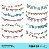 Bunting Garlands - Doodle Clipart - Transparent PNGs