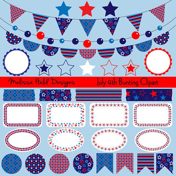 Bunting Labels Washi Tape Clipart: Red White Blue