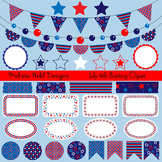 Red White Blue Bunting & Labels Clipart