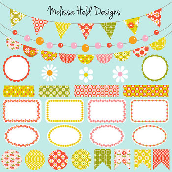 Bunting Labels Washi Tape Clipart: Vintage Patterns