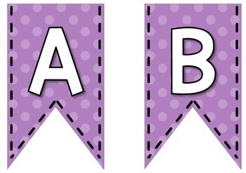 Bunting Letters - Purple Polka Dot