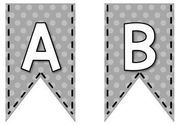 Bunting Letters - Grey Polka Dot