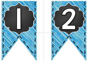 Bulletin Board Letters - Editable Bunting - Chalkboard & Brights {Blue}