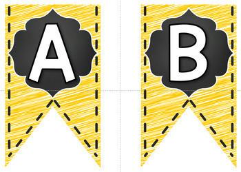 Bulletin Board Letters - Editable Bunting - Chalkboard & Brights {Yellow}
