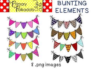Bunting {Primary Polka Dots Clip Art}