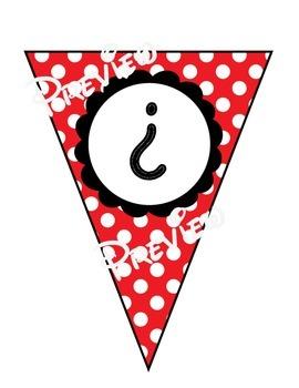 Bunting - Red & White Polka Dot **Spanish** Alphabet