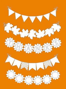 Bunting Thanksgiving clipart bunting autumn clip art+black white outlines