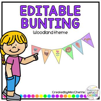 Bunting (Woodland Theme) EDITABLE