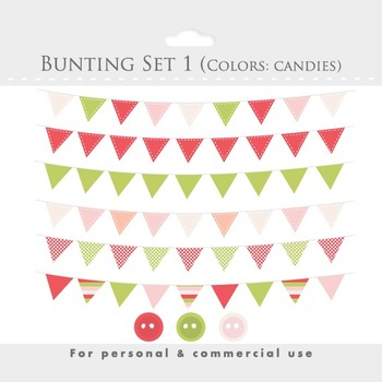 Bunting banner clipart - flag clip art, stitched flags, decorative, pastel