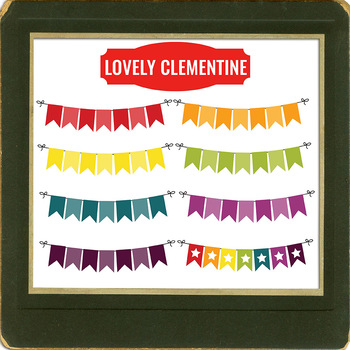 Bunting clip art - rainbow banners clipart