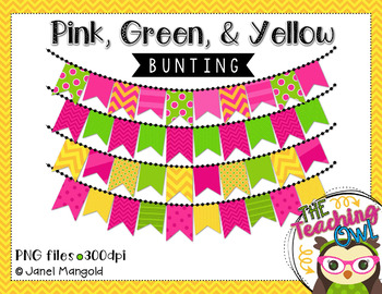 Bunting clipart- pink, green, and yellow