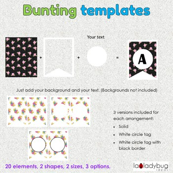 Bunting templates. Clip art for commercial use. Banner templates. 4 designs.