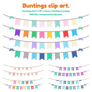 Buntings. Clip art. Happy birthday clipart buntings. PNG Files.