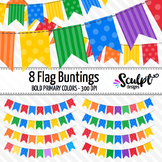 Buntings Clip Art ~ Flags ~ Bold Primary Colors