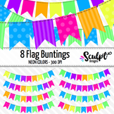 Buntings Clip Art ~ Flags ~ Neon Colors