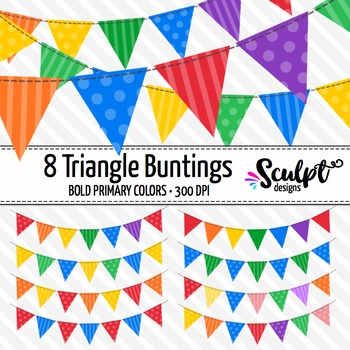 Buntings Clipart ~ Triangles ~ Bold Primary Colors
