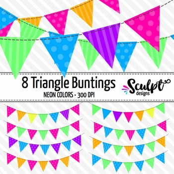 Buntings Clip Art ~ Triangles ~ Neon Colors