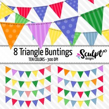 Buntings Clip Art ~ Triangles ~ Ten Colors