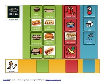 Buona Beef adapted menu