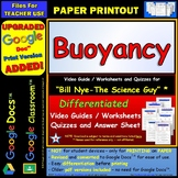 Differentiated Video Worksheet, Quiz & Ans. for Bill Nye - Buoyancy *