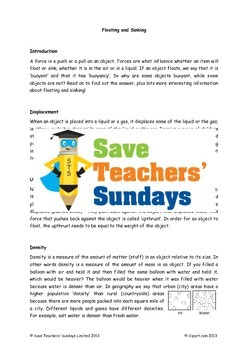 Buoyancy / Floating and sinking Lesson plan, Activities, Text and Worksheets