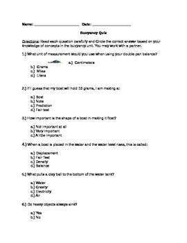 Buoyancy Quiz