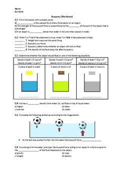 Buoyancy - Worksheet