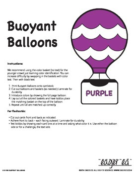 Buoyant Balloons - Simple, effective color recognition activities w/ flashcards